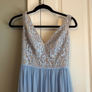 Light blue dress with a lace top. Wore once